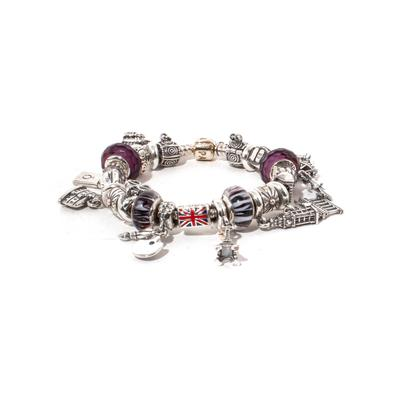 Pandora Traveling Charms & Amethyst Bracelet