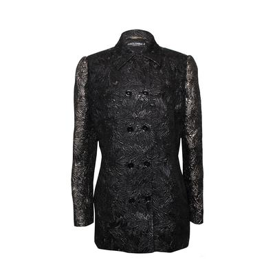 Dolce and Gabbana Size 46 Metallic Floral Blazer