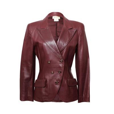 Gucci Size 40 Vintage Maroon Leather Jacket