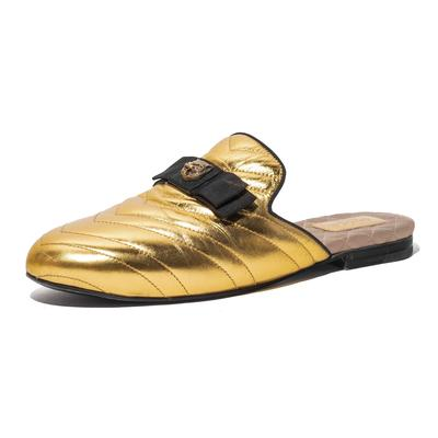 Gucci Size 39.5 Metallic Princeton Slides