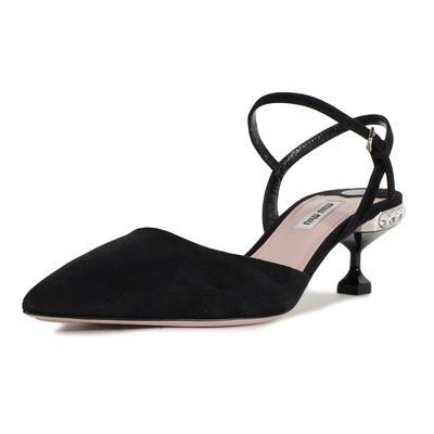 Miu Miu Size 7.5 Suede Crystal Heels