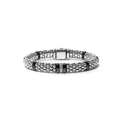 Lagos Size 6.5 Sterling Silver Black Caviar Rope Bracelet