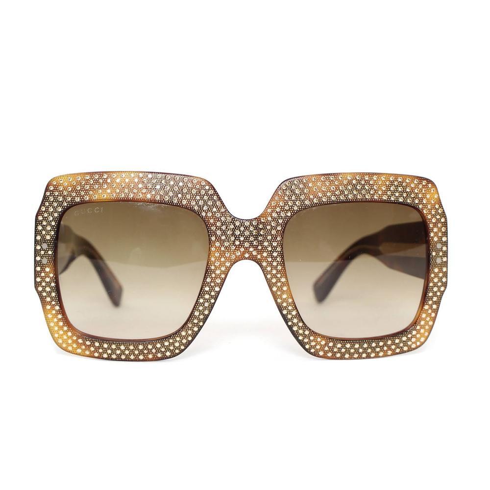 Gucci Large Rhinestone Square Frame Sunglasses