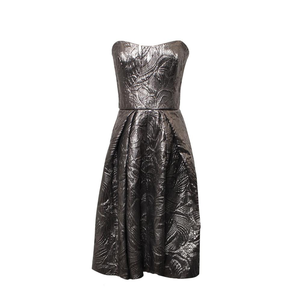 Carolina Herrera Size 12 Jacquard Silver Sleeveless Dress