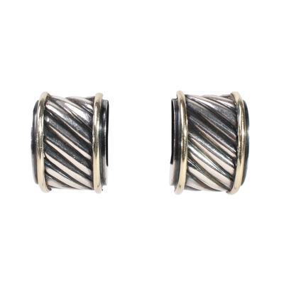 David Yurman 14K Sterling Silver Cigar Band Earrings