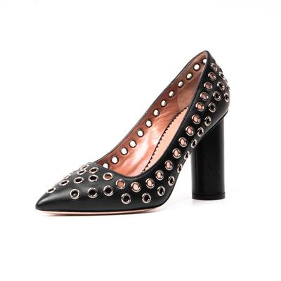 REDValentino Size 35 Grommet Leather Round Block Heel