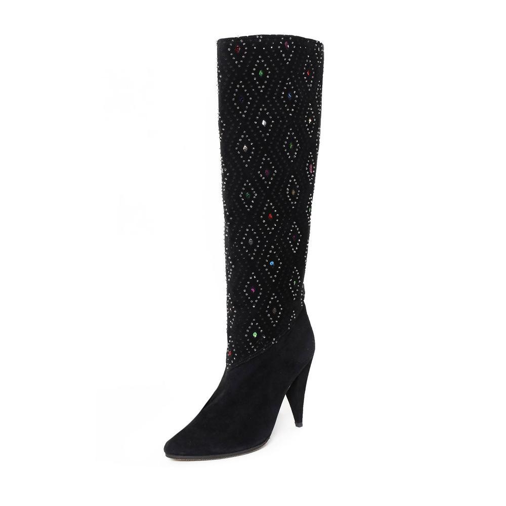 Casadei Size 38.5 Rhinestone Dia Kneehigh Boots