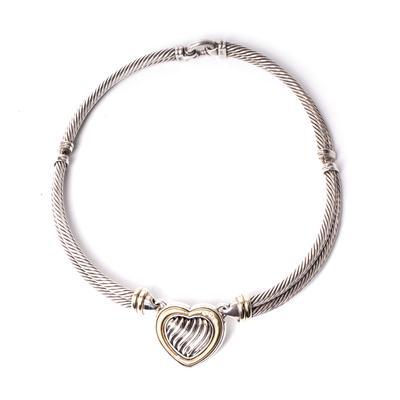 David Yurman Diamond Cable Ribbed Heart Necklace