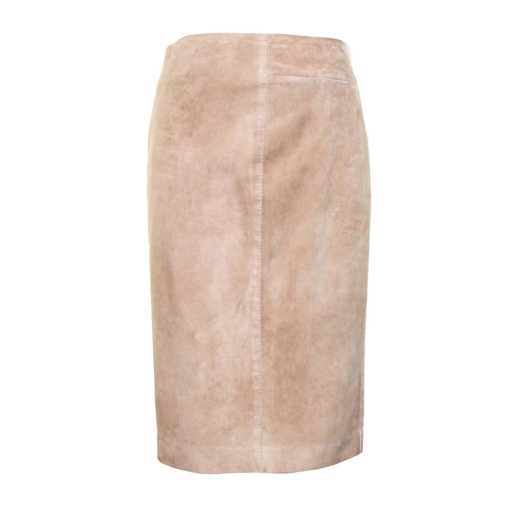 Vintage Gucci Size 38 Tan Suede Midi Skirt