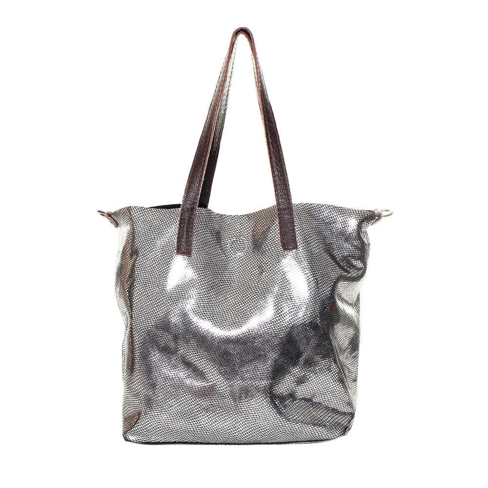 Marni Silver Snakeskin Leather Strap Tote