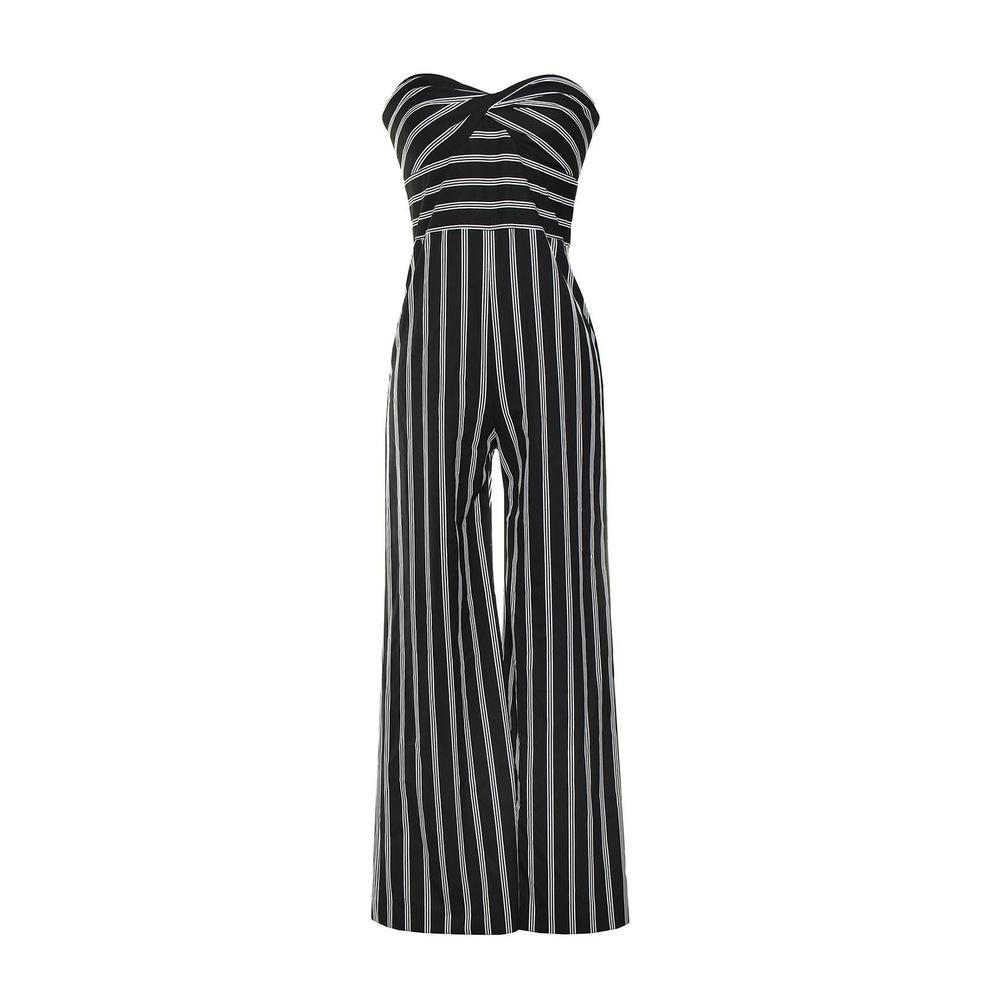 Veronica Beard Size 2 Black Striped Strapless Jumpsuit