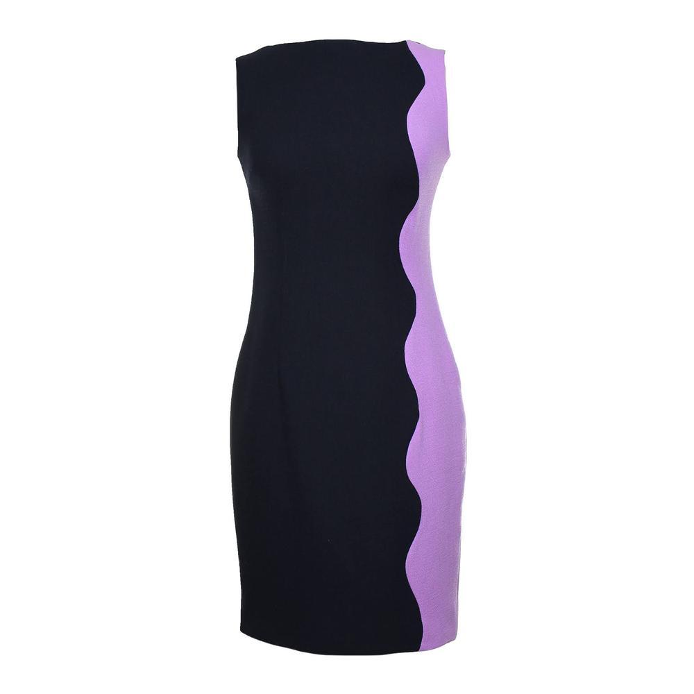 Lela Rose Size Small Black & Purple Colorblock Dress