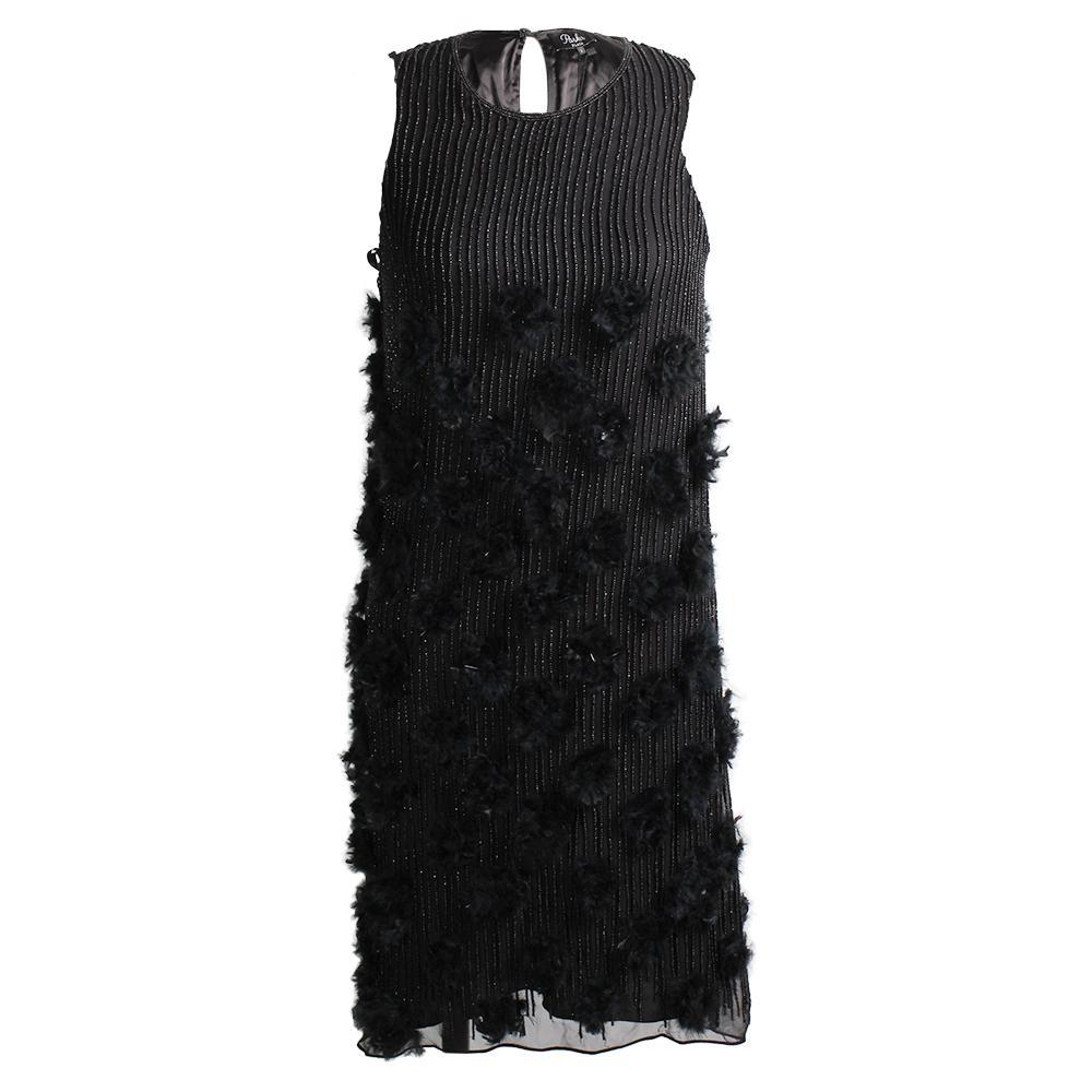 Parker Size 2 Black Feather Dress