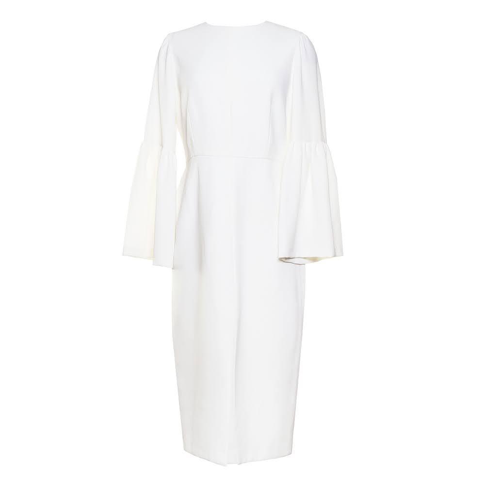 Jill Jill Stuart Size 8 White Bell Sleeve Front Slit Dress