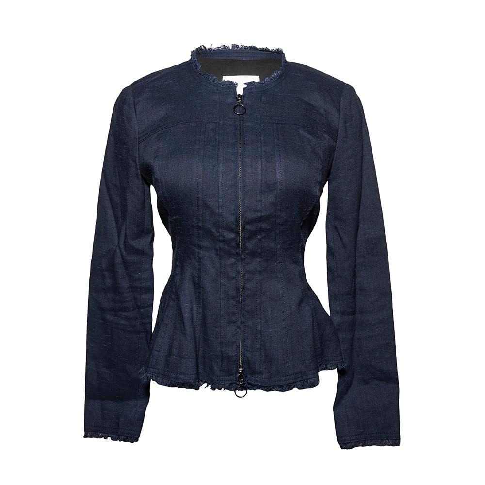 Rebecca Taylor Size 4 Linen Blend O Ring Zip Jacket