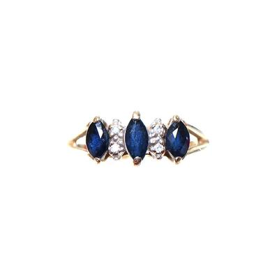 Size 6.5 14K Gold Sapphire Diamond Ring