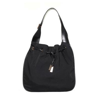 Gucci Black Nylon Drawstring with Leather Trim Handbag