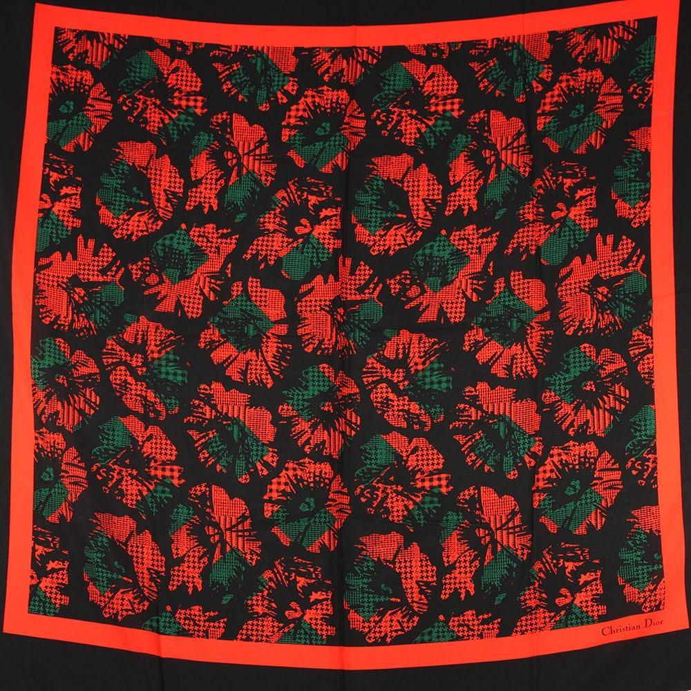 Christian Dior Black & Red Floral Silk Scarf