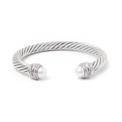 David Yurman Sterling Silver Pearl & Diamond Cuff