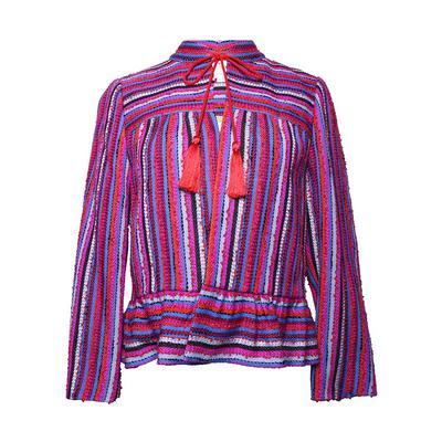 Kate Spade Size 6 Stripe Texture Tweed Peplum Jacket