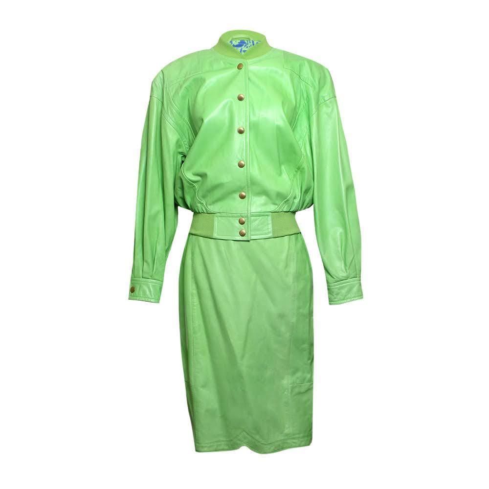Vintage Escada Size 36 Green Leather Set