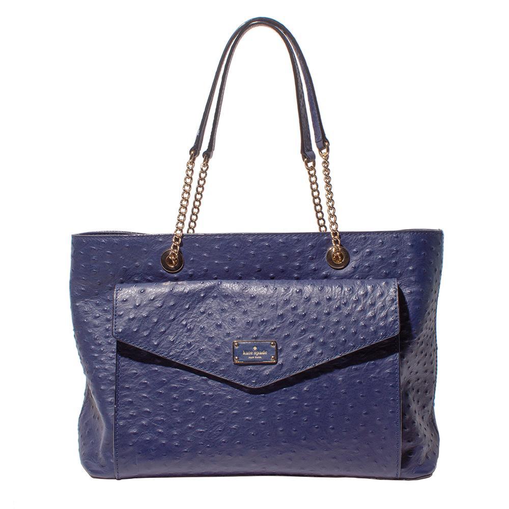 Kate Spade Dark Blue Ostrich Bag