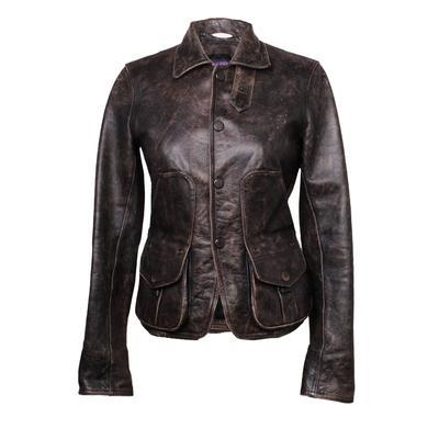 Ralph Lauren Purple Label Size Small Brown Leather Jacket