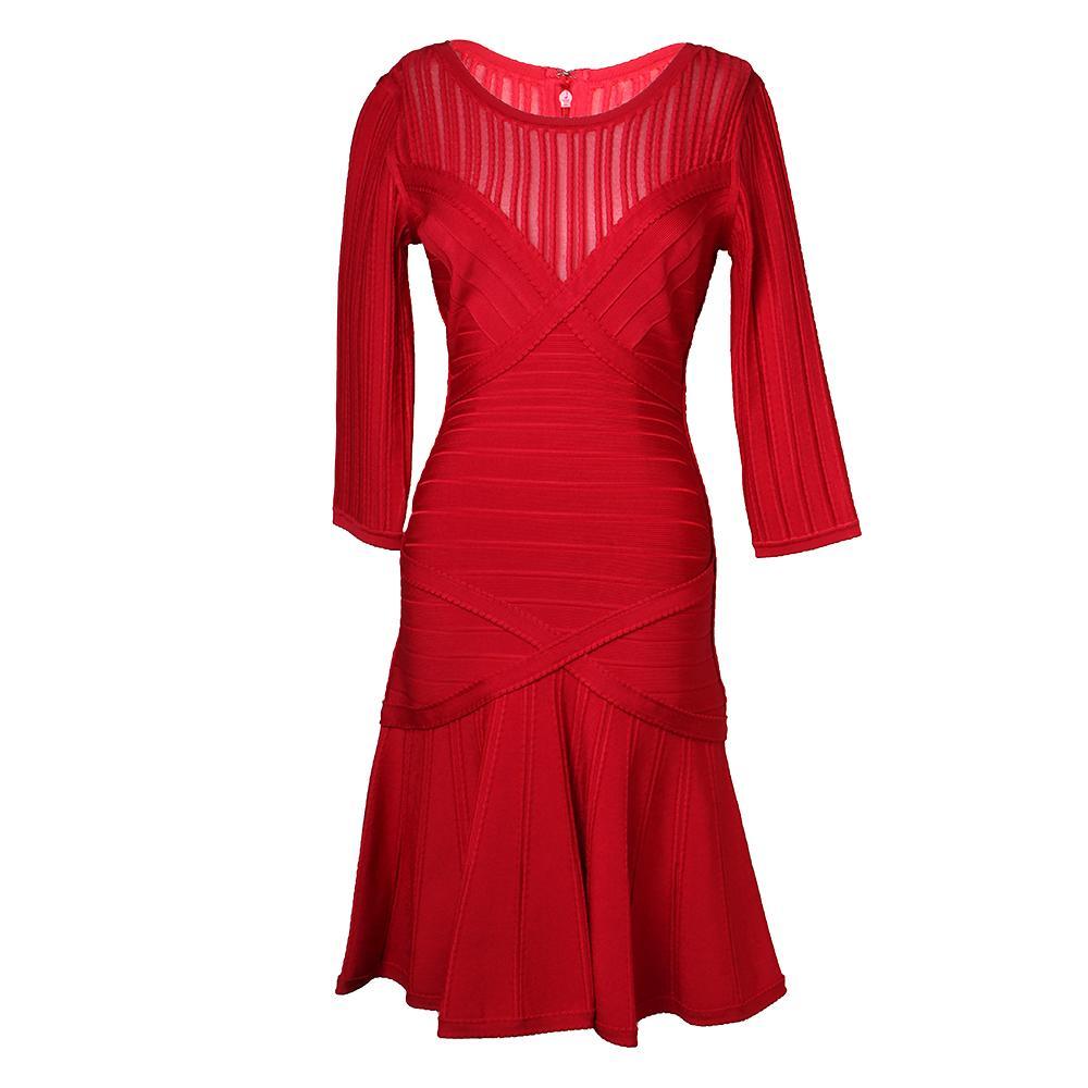 Herve Leger Size Medium Red Dress