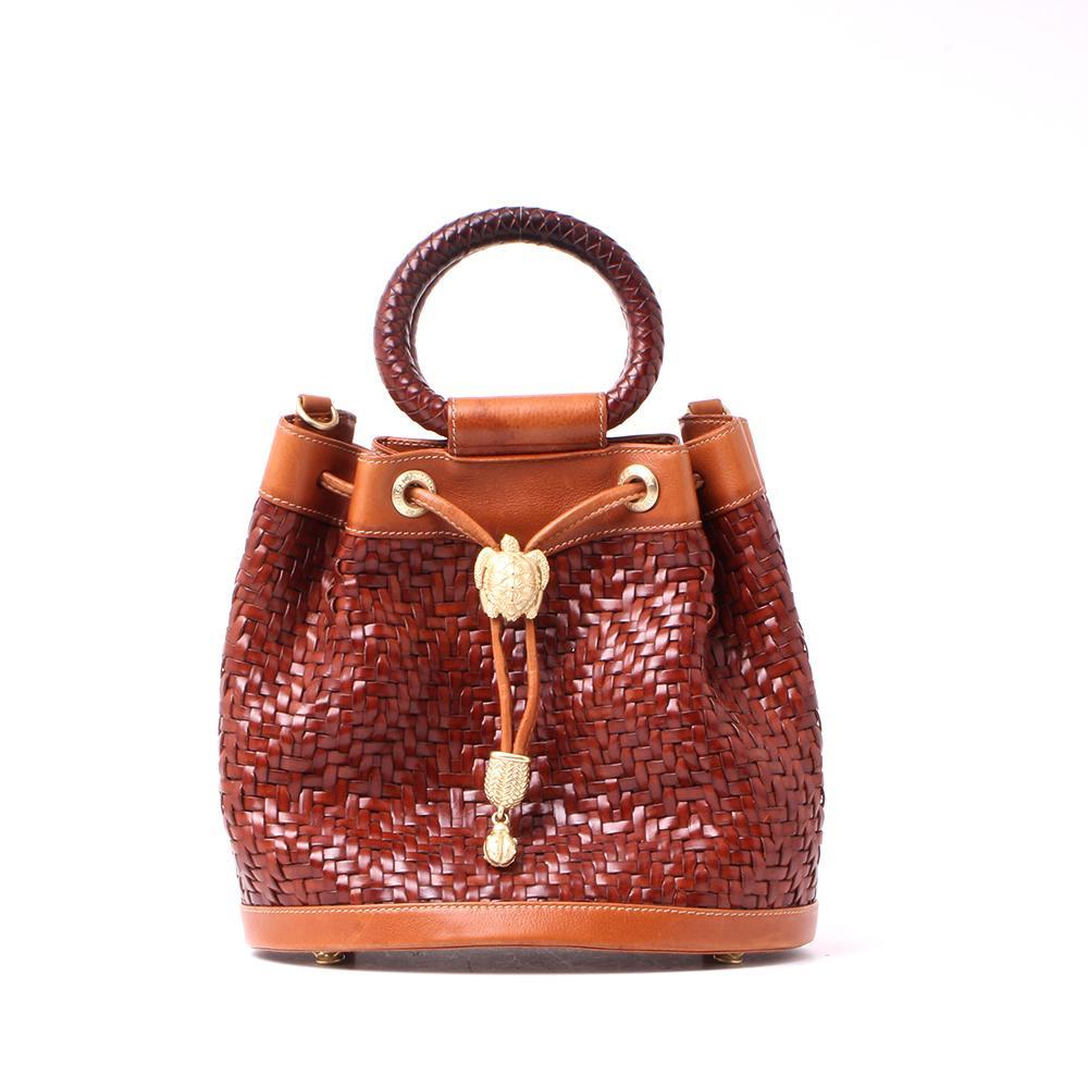 Kieselstein- Cord Woven Leather Drawstring Bucket Bag