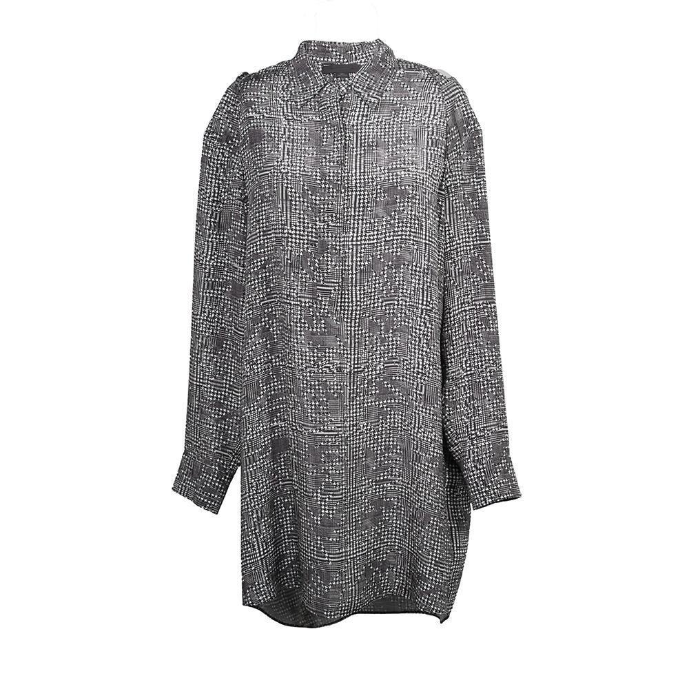 Alexander Wang Size 6 Cold Shoulder Houndstooth Shirt Dress