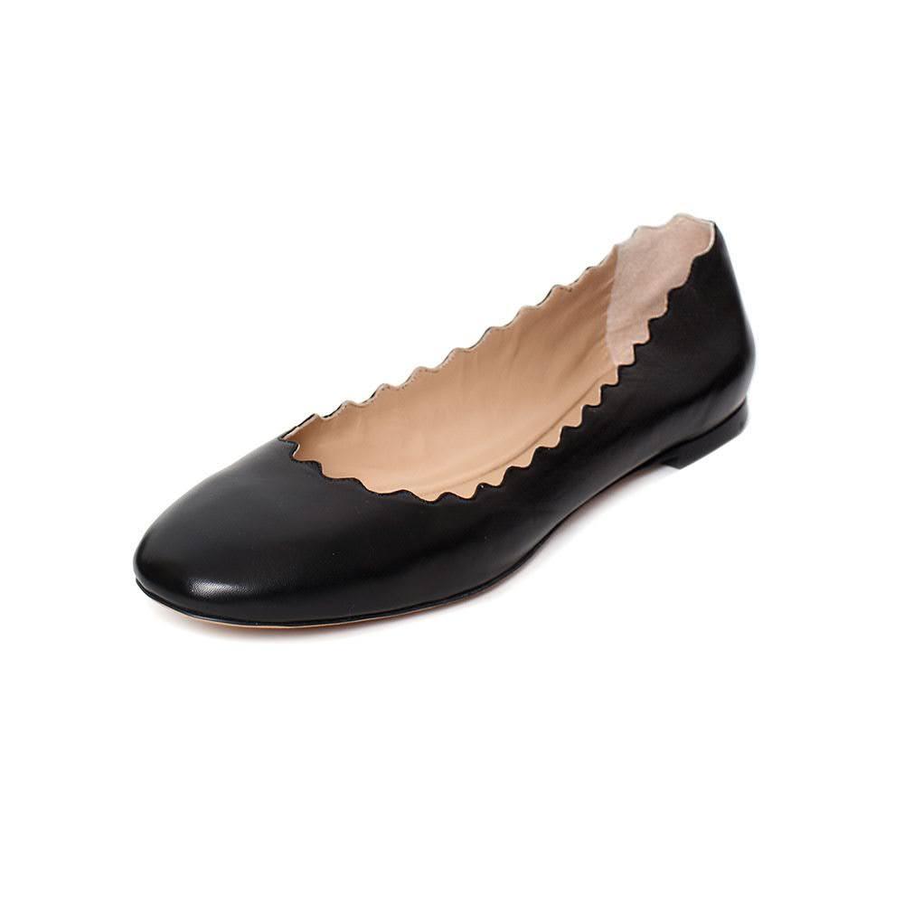 Chloe Size 11 Black Scalloped Flats