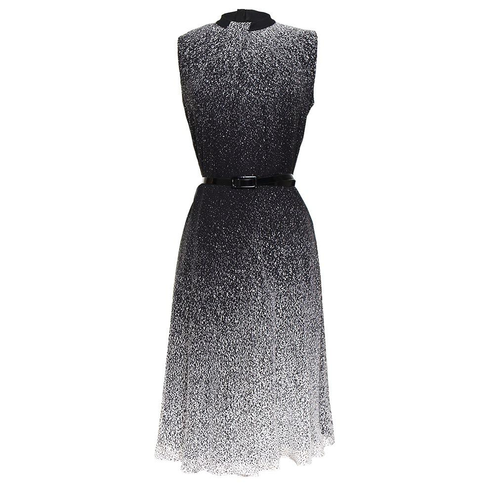 Jason Wu Size 4 Black Sleeveless Speckle Dress With Belt