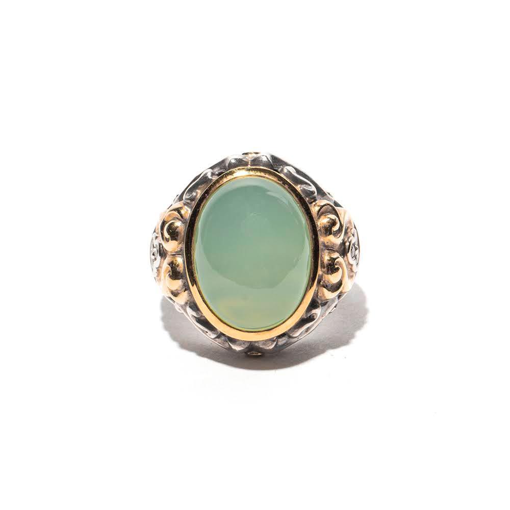 C.Krypell Size 6 Sterling Silver 18k Green Quartz Diamond Ring