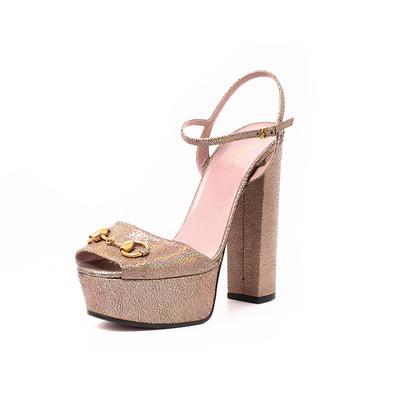Gucci Size 9 Iridescent Horsebit Platform Block Heel