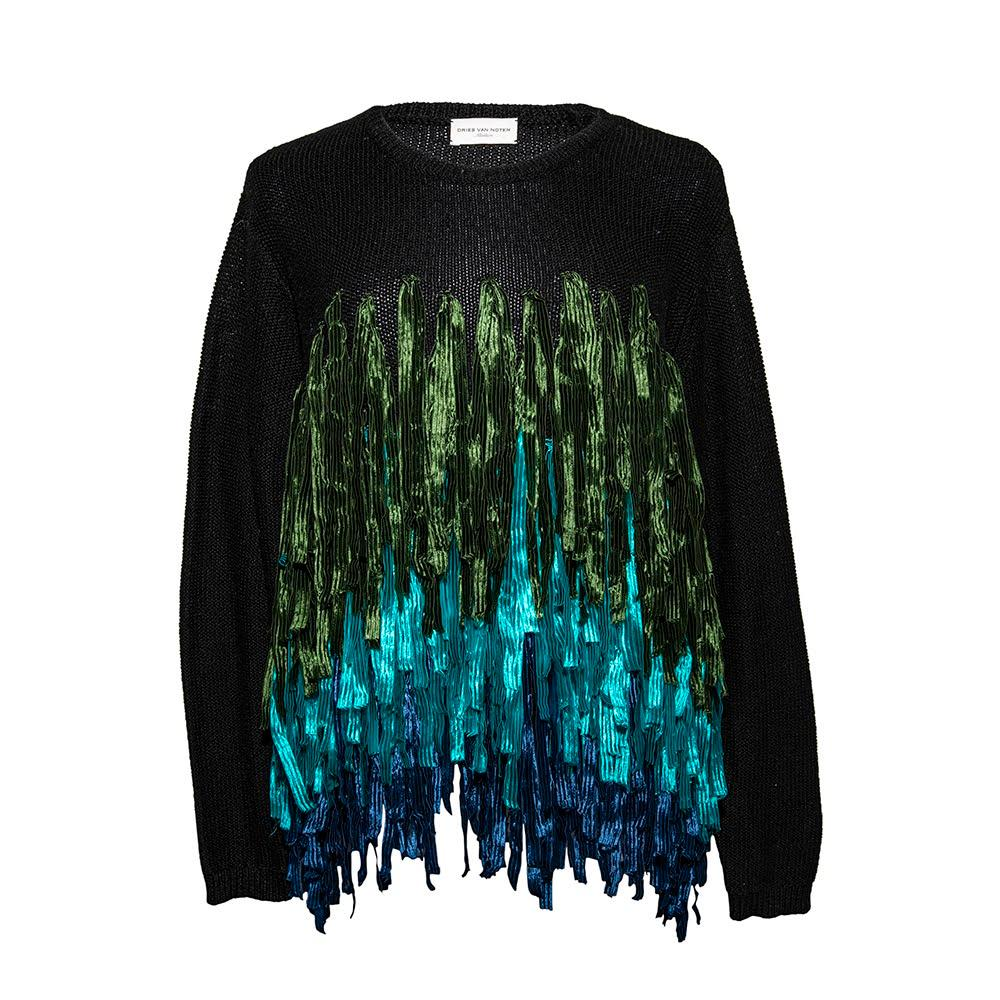 Dries Van Noten Size Medium Ribbon Fringe Sweater