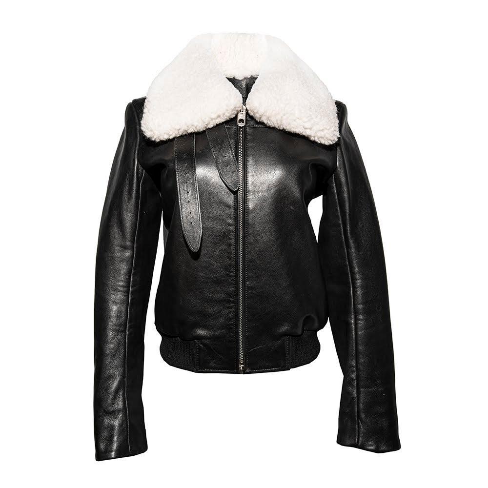 Balenciaga Size 40 Leather Shearling Jacket