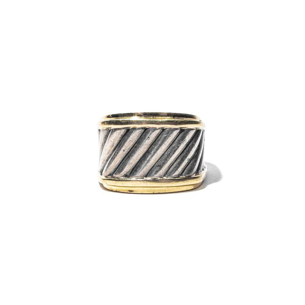 David Yurman Size 7 14k Sterling Silver Ribbed Tapered Ring