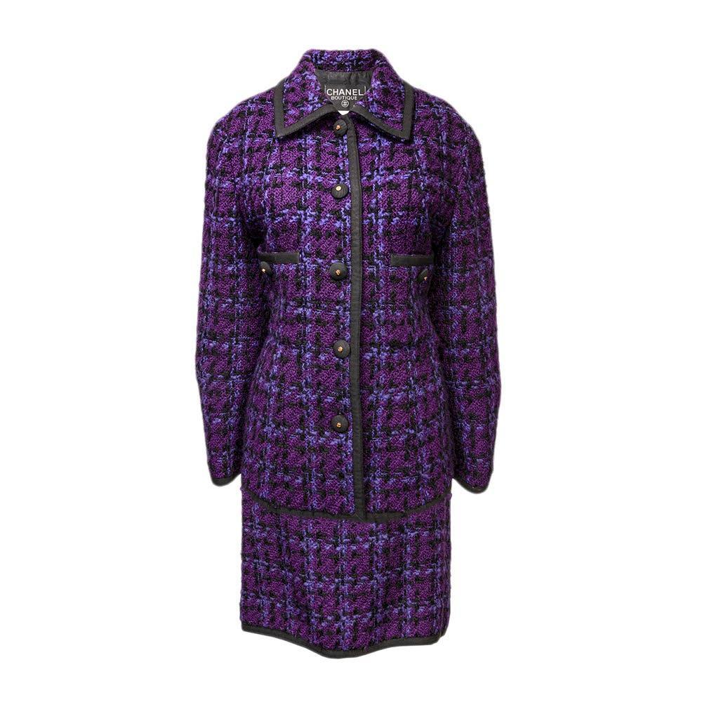 Chanel Boutique Size Large Purple Tweed Set