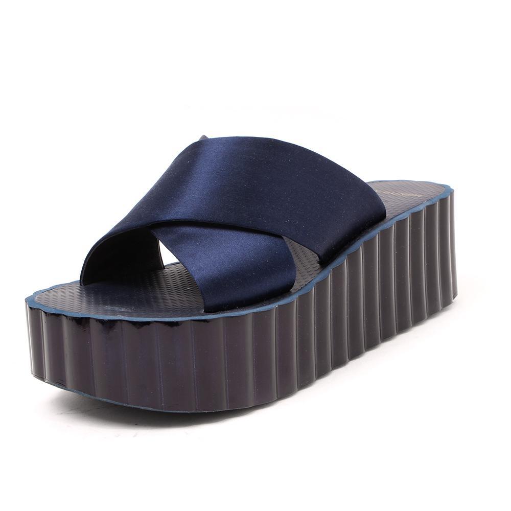 Tory Burch Size 8 Scallop Wedge Platform Slide