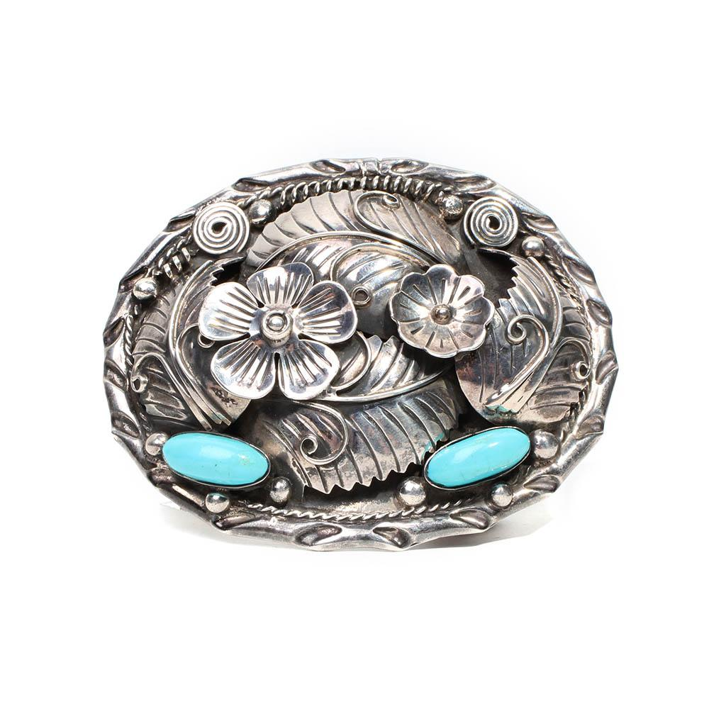 Silver Floral Belt Buckle