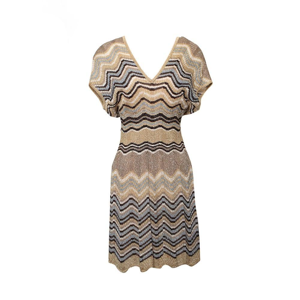 Missoni Size 8 Metallic Chevron Dress