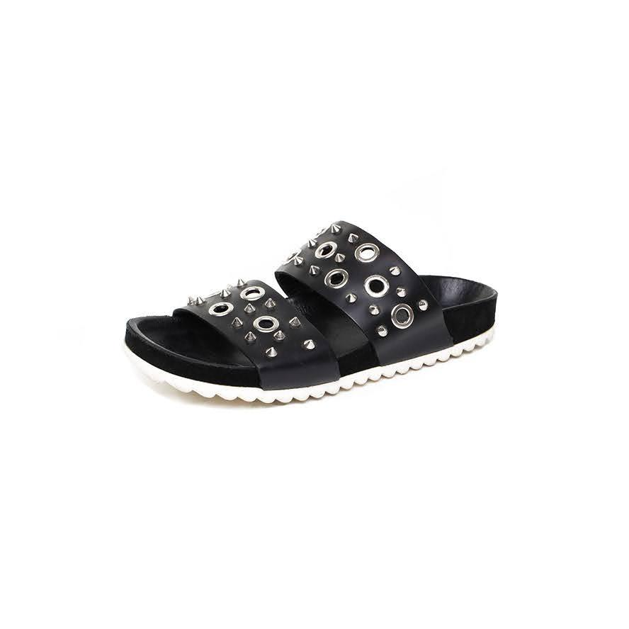 Sandro Size 7 Studded Leather Slides