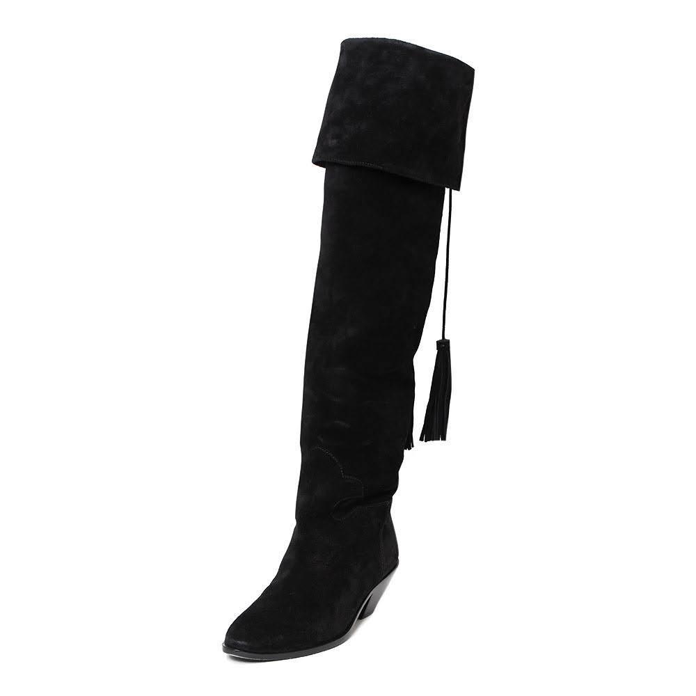 Saint Laurent Size 8 Black Suede Over The Knee Boot