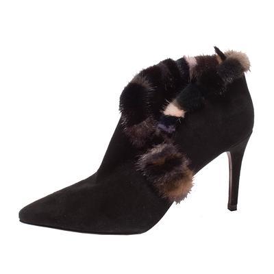 Donald J Pliner Size 8 Mink Fur Trim Boots