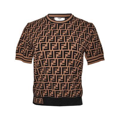 Fendi Size 44 Zucca Print Short Sleeve Shirt