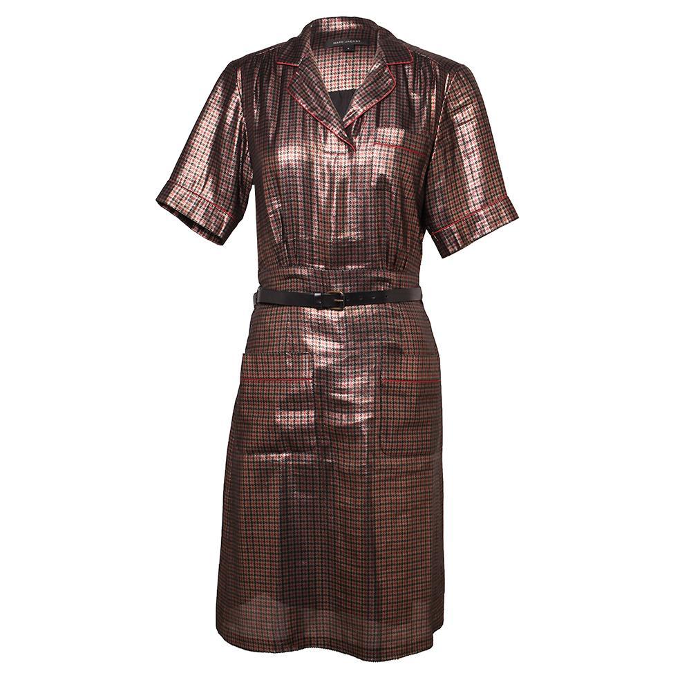 Marc Jacobs Size Xxs Metallic Houndstooth Dress