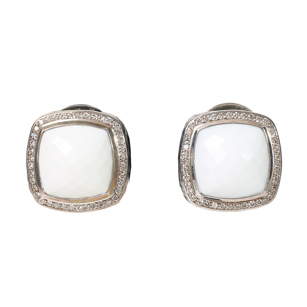 David Yurman White Agate Earrings