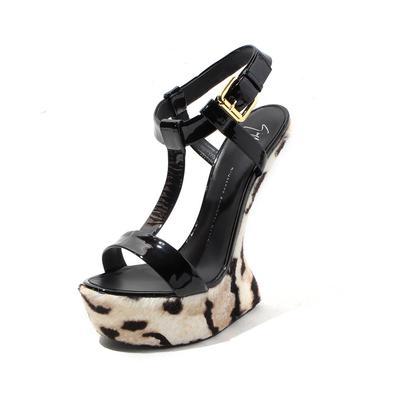 Giuseppe Zanotti Size 11 Platform Leopard Heel Less Wedge Sandals