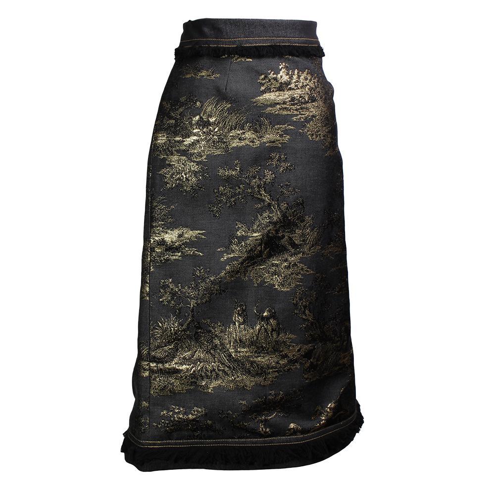 Mary Katrantzou Brocade Frayed- Trim Size 8 Pencil Skirt
