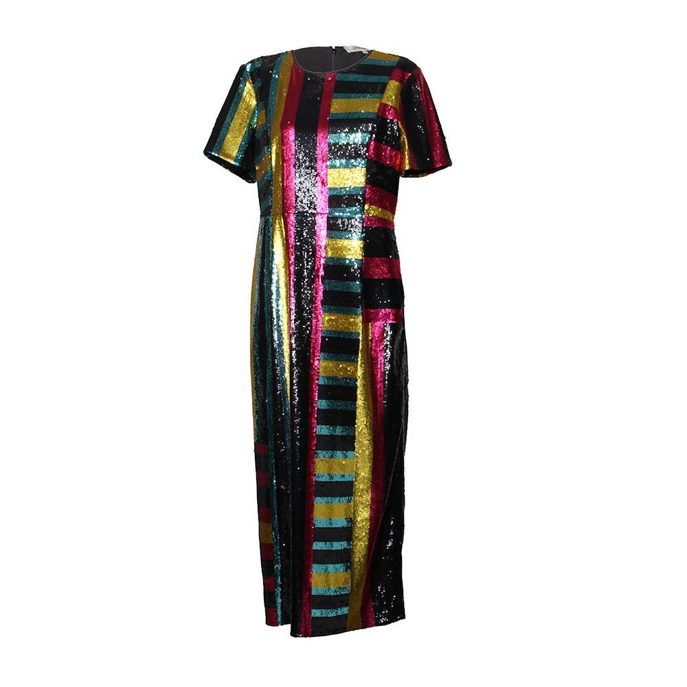 Diane Von Furstenberg Multicolor Sequins Size 12 Dress